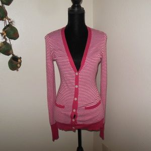 Pink Striped Vneck Cardigan Sweater